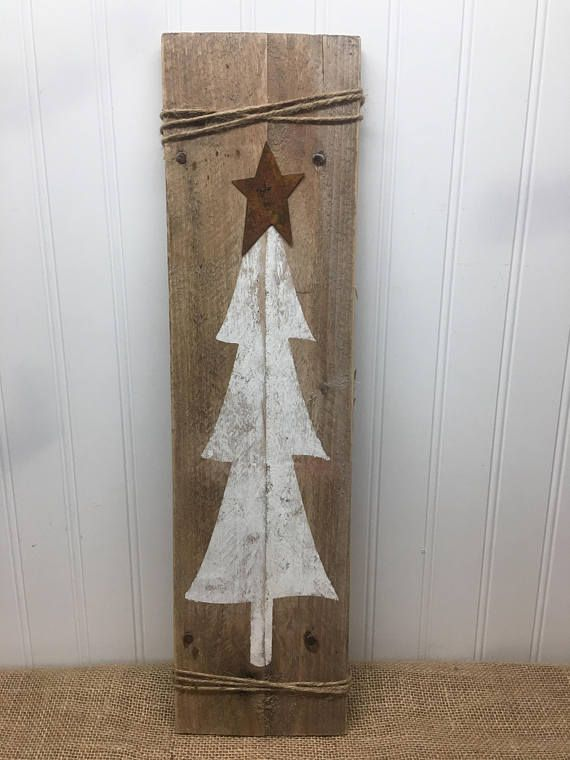 Rustic Tree Door Sign Christmas Tree Plank Rustic Pallet