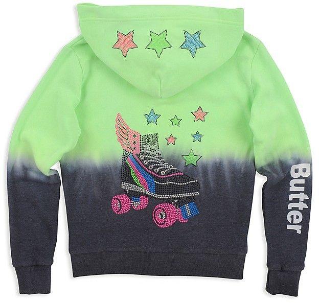 Butter Shoes Girls' Dip-Dyed Embellished Roller Skate Hoodie - Big Kid