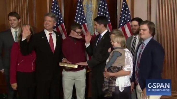 Excruciating moment US congressman is left humiliated after his son performs a mocking dab dance during his swearing-in ceremony before furious house speaker gets him grounded