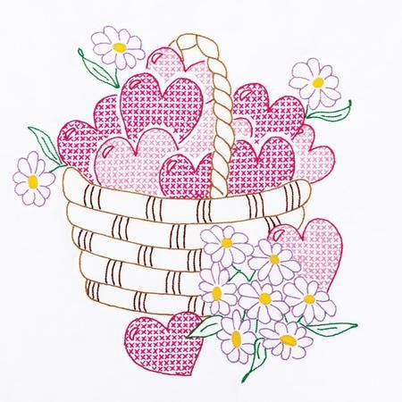 "Basket of Hearts 18"" Quilt Blocks - Stamped Cross Stitch"