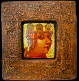 Деревянная картина «Ангел с домом на голове», Авторские картины, Павла Николаева, Готический наив, Картины из дерева, Авторское изделие, единственный экземпляр, Резные картины из дерева