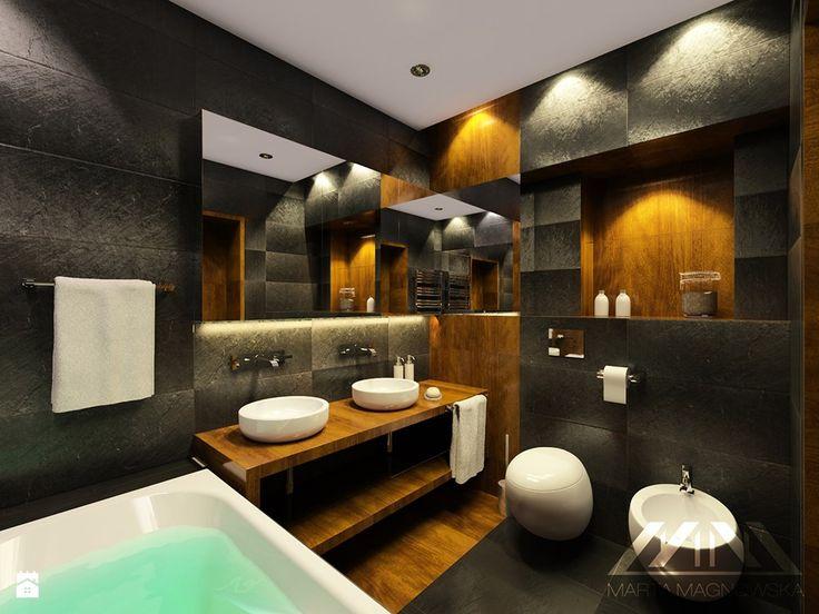 Zdjęcie: Grafitowa łazienka - Łazienka - Styl Nowoczesny - Marta Magnowska - Projektowanie Wnętrz i Wizualizacje