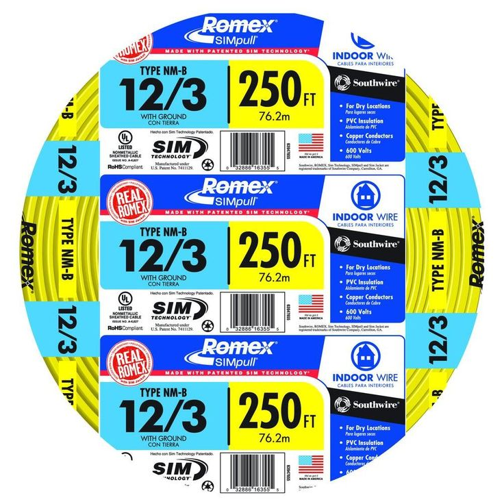 Southwire 250 ft. 12/3 Solid Romex SIMpull CU NM-B W/G Wire-63947655 - The Home Depot