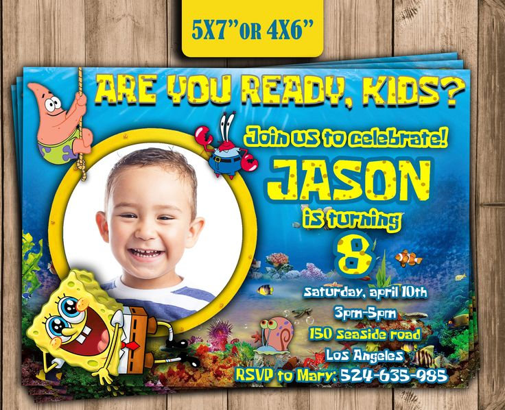 SPONGEBOB Birthday Party INVITATION,personalized Spongebob invitation with photo,Digital Party Supplies,Spongebob party ideas,Birthday theme di RockThisParty su Etsy