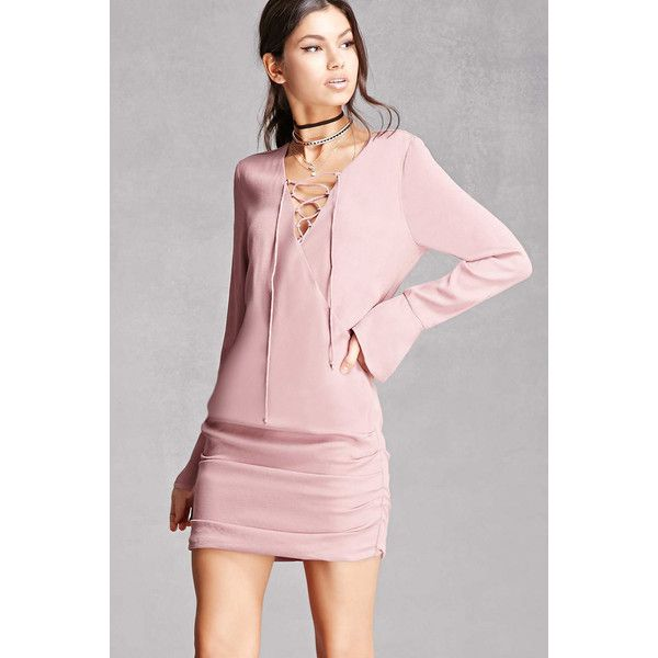 Forever21 Line & Dot Lace-Up Mini Dress ($98) ❤ liked on Polyvore featuring dresses, mauve, pink long sleeve dress, forever 21 dresses, pink dress, long-sleeve maxi dress and pink polka dot dress