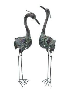 Amazon.com: Pair of Metal Crane Staues Lawn and Garden Decor: Patio, Lawn & Garden