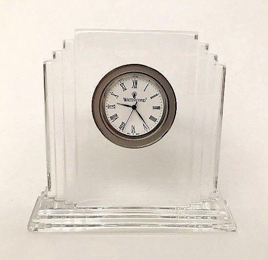 Waterford Crystal Clock Ireland Art Deco Style Seiko Precision Movement #Waterford #ArtDeco
