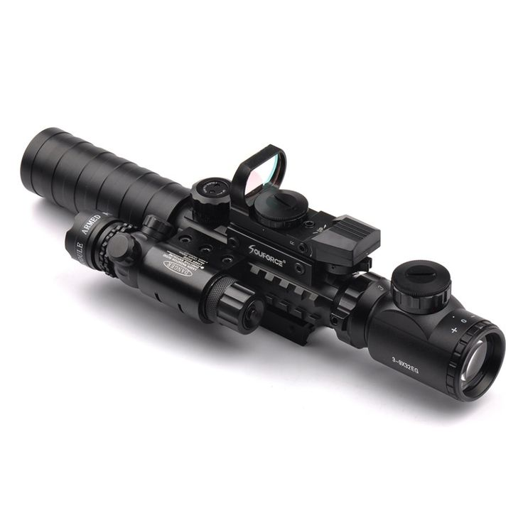 3-9X32EG Riflescope with Long Range Red Dot Laser and Red/Green Dot Holographic Reflex Sight 3 in 1 Combo for Rifle and Airsoft //Price: $76.99 & FREE Shipping //     #knife #army #gear #freedom #knifecommunity #airsoft
