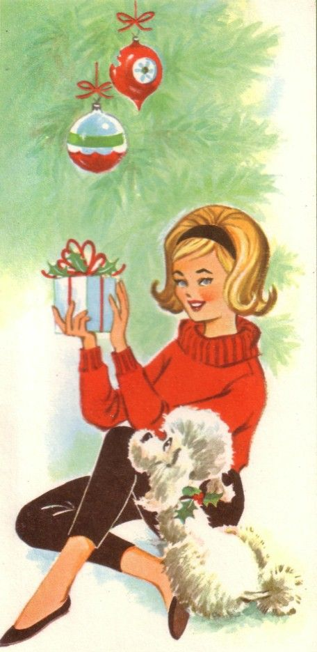 Vintage Christmas illustration - woman with poodle under the Christmas tree