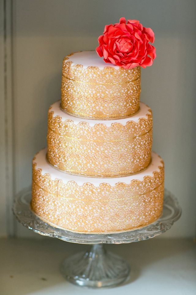 Gold wedding cake with fondant flower   Anneli Marinovich Photographey + The Wedding and Event Institute