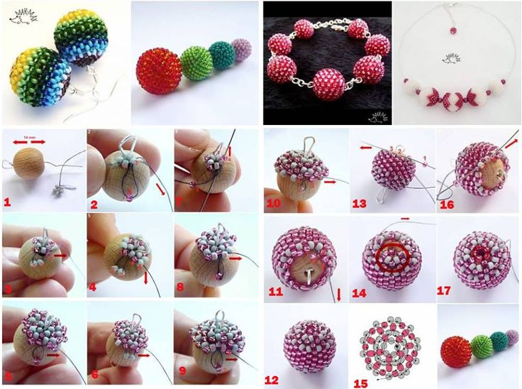 Free Beaded Bead tute - covering a 14mm wooden bead. #Seed #Bead #Tutorials