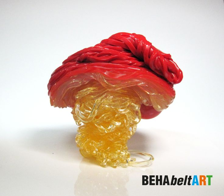 MUSHROOM WITH RED HAT 2-coloured artwork with orange-transparent foot. Size: 18,5x17cm.  Art · Sculpture · Plastic · TEP · Kunst. art@behabelt.com