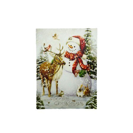 Nice LED Lighted Vintage Inspired Snowman and Reindeer Christmas Canvas Wall Art inch x inch