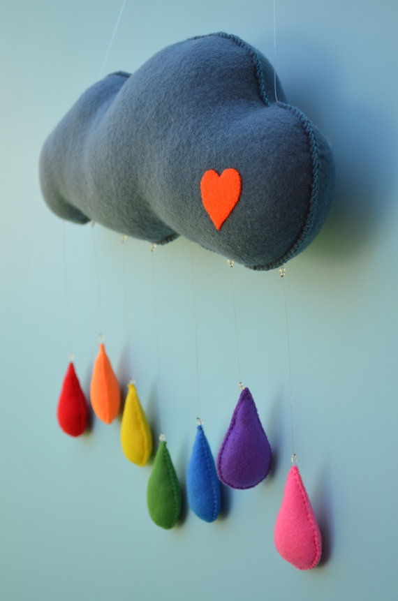 Nursery decor - cloud mobile with multicolor raindrops for baby's bedroom