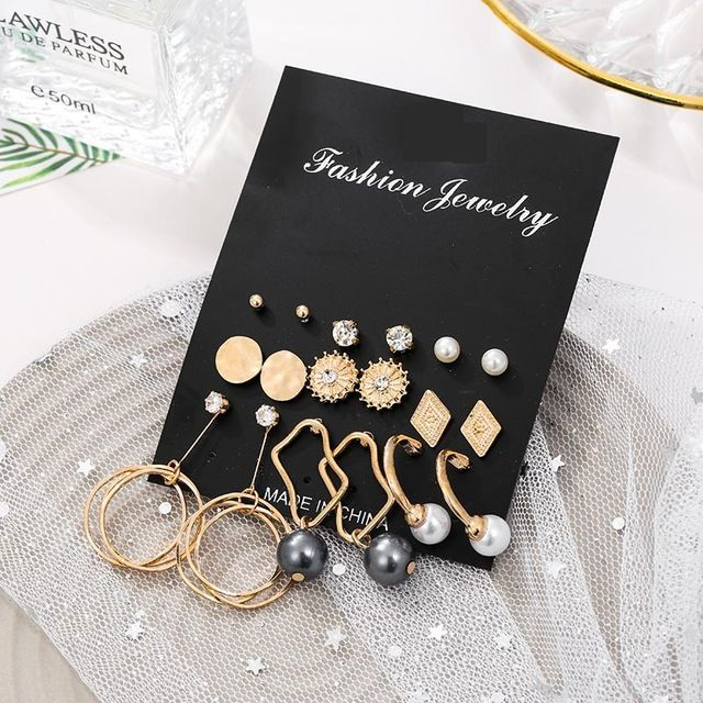 12Pairs//lot Vintage Stud Earrings For Women Round Water-Drop Oval Foil Jelly Stone Pearl Earring Gifts