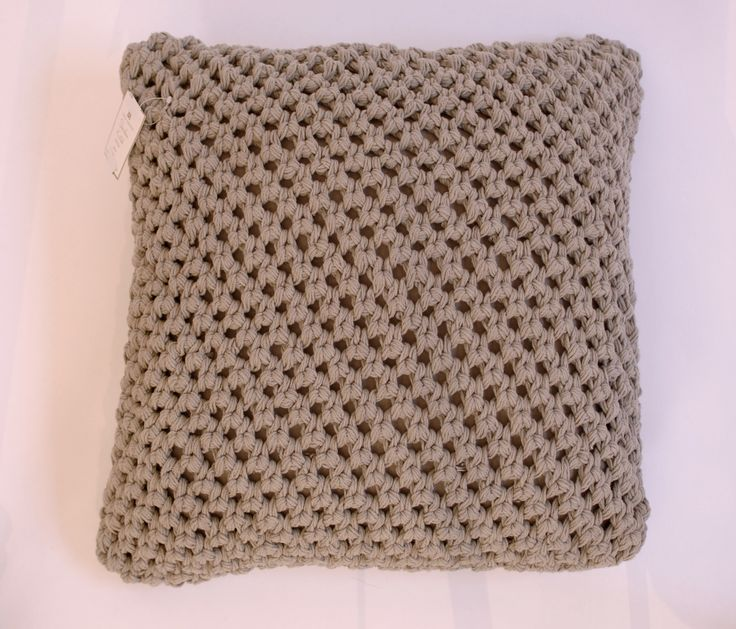 """Gray Knitted Decorative Toss Square Pillow 20"""" - Harrington Galleries"""