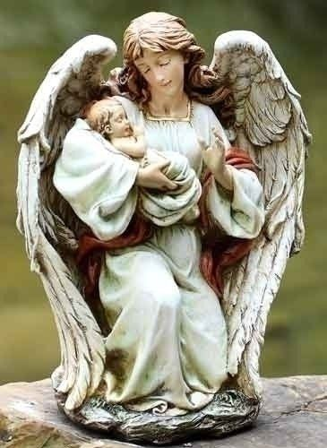 Josephs Studio Garden Statue 63650 Guardian Angel Kneeling and Holding a Baby 17 inches tall