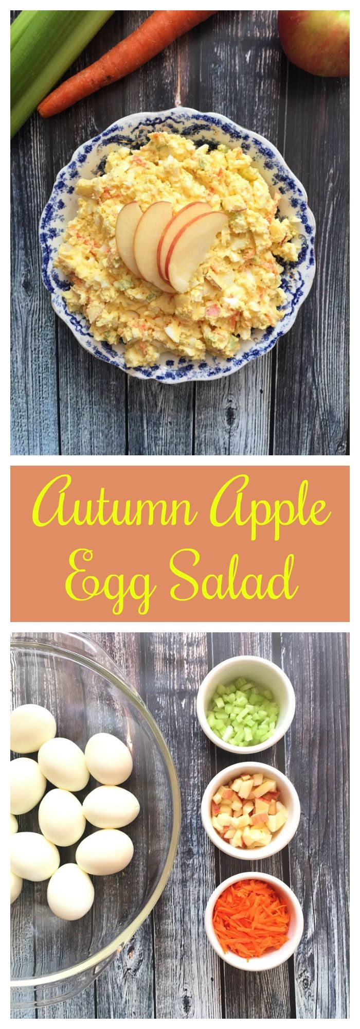 Take egg salad to a whole new flavor and nutritional level with this Autumn Apple Egg Salad. It's made with hard boiled eggs, chopped apple, shredded carrot, celery and light mayo. Yes please! #egg #salad #apples https://www.lizshealthytable.com/2015/09/25/healthy-autumn-apple-egg-salad-recipe/ Make any time of the year or for Rosh Hashanah or your Yom Kippur break fast. #brunch #lunch #YomKippur| Follow @lizshealthytable & check out her awesome podcast for more great recipes!