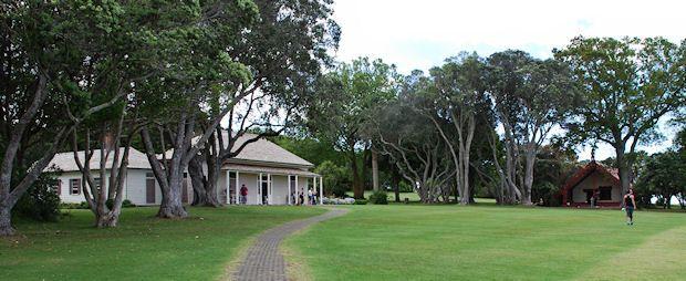 The Treaty House and Whare Rununga at Waitangi