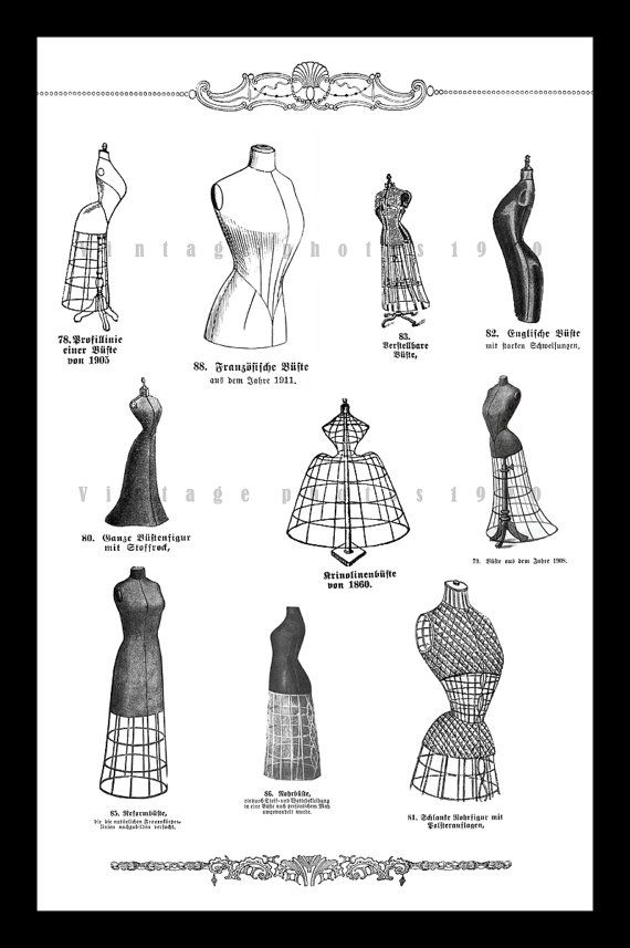 Antique Mannequin Dress Form Poster 12 x 18, from 1909 German Illustrations, Sewing, Seamstress, Dress Making, Fashion – F J