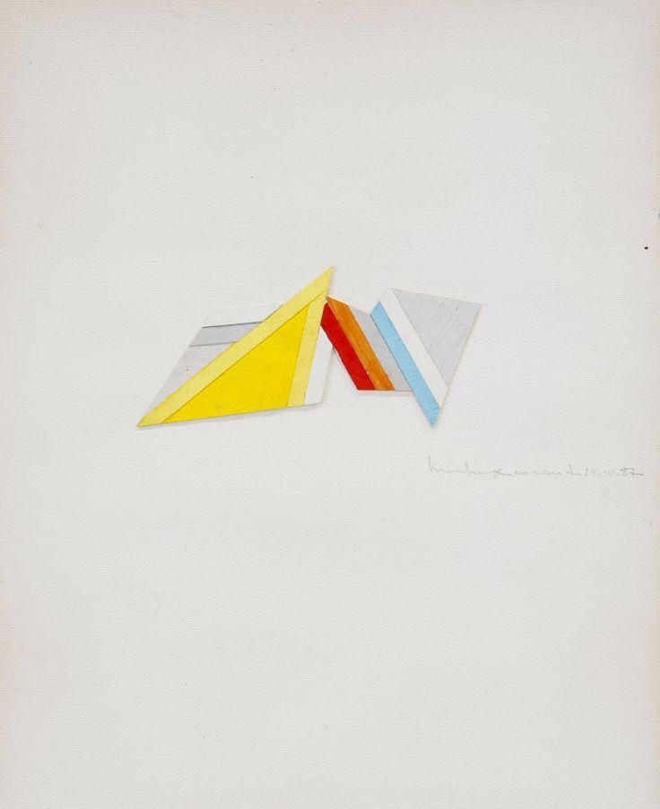 René Roche (1932-1992)  Composition, 1987  Trois collages sur papier, sous verre  Signés et datés '10-87' en bas à droite  40 x 30 cm.