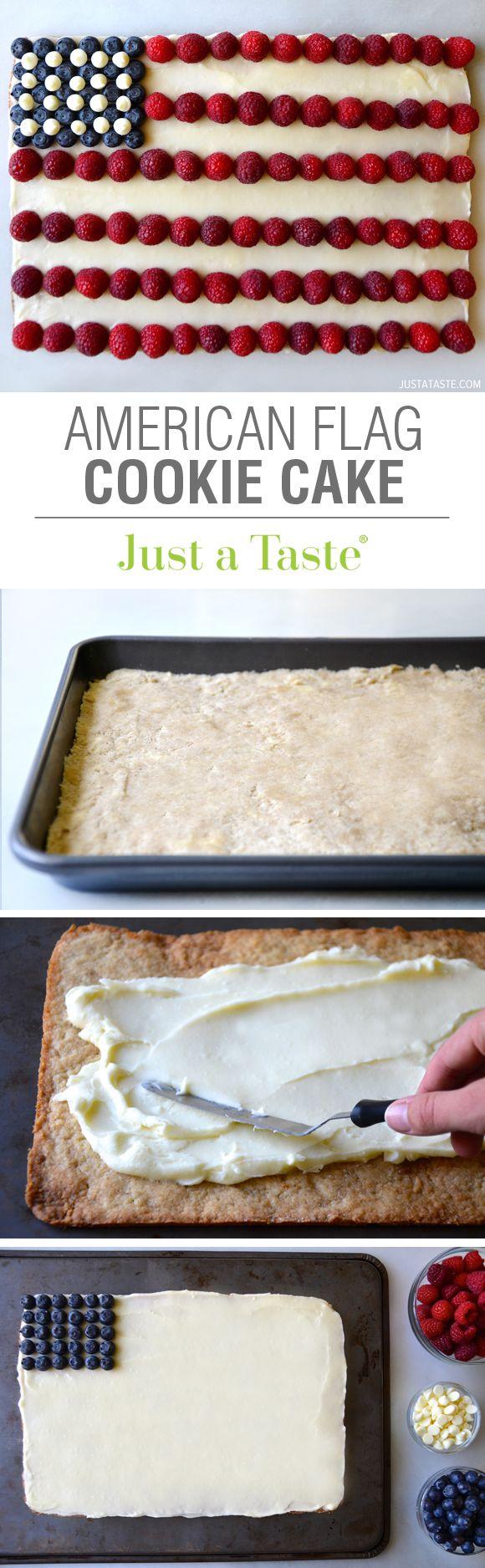 American Flag Cookie Cake #recipe from justataste.com