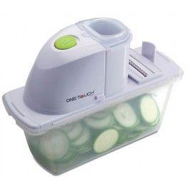 One Touch Vegetable Slicer  • handig en snel • kost u geen kracht. • mooie vormgeving • makkelijke schoon te maken  • Werkt op 2 AA Batterijen