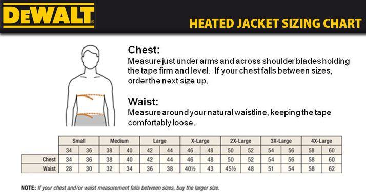 Dewalt Heated Jacket Sizing Chart Things For Fall