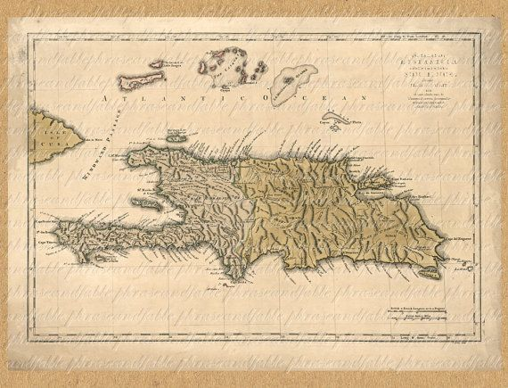 Map Of  Haiti And Dominican Republic From The by phraseandfable, $4.50