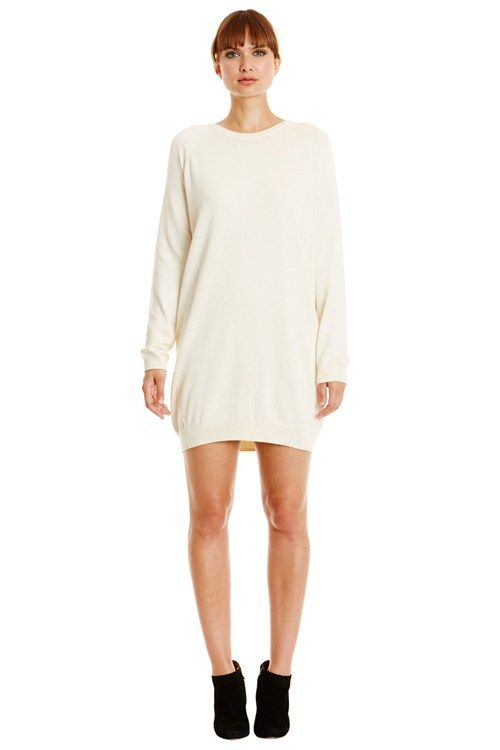 Winter white knitted sweater dress in 100% organic Fairtrade certified cotton. Above knee length with long sleeves.
