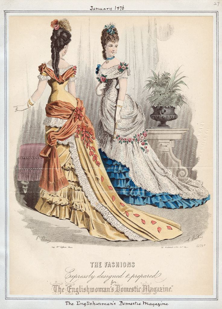 Living Room Decorating Ideas For Apartments For Cheap: Evening Dresses, January 1876. Neat Falling Leaf Detail