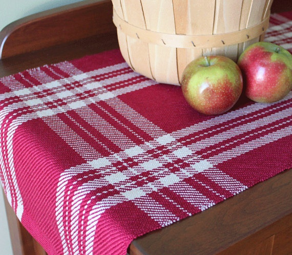 Handwoven table runner in cranberry red & ivory farmhouse plaid handmade by Nutfield Weaver via Etsy