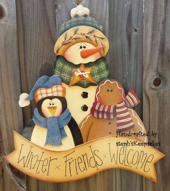Winter Trio Welcome Frosty Snowman Wall Hanging by stephskeepsakes, $28.99