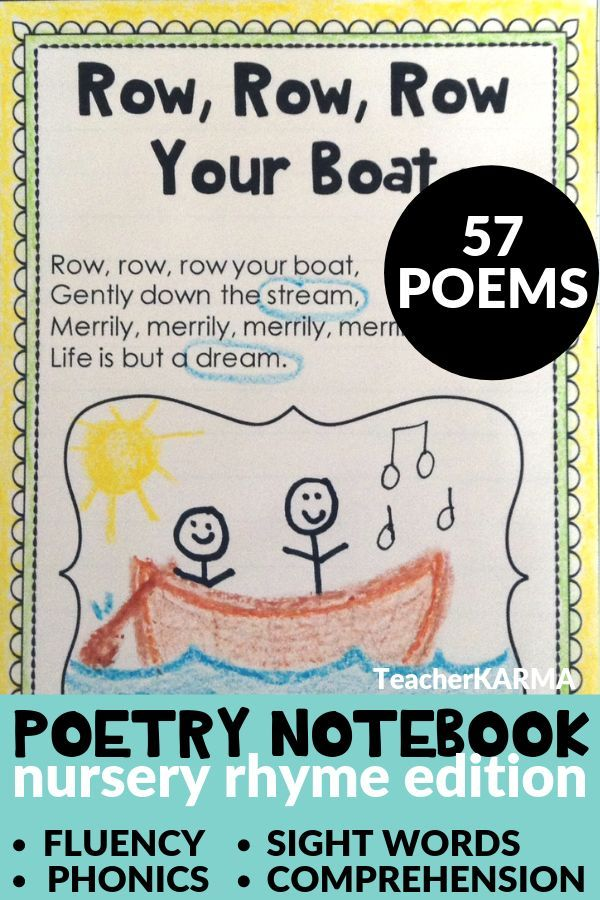 Poetry Pocket book Nursery Rhymes KIT  ~ 57 Poems ~ Intervention RTI
