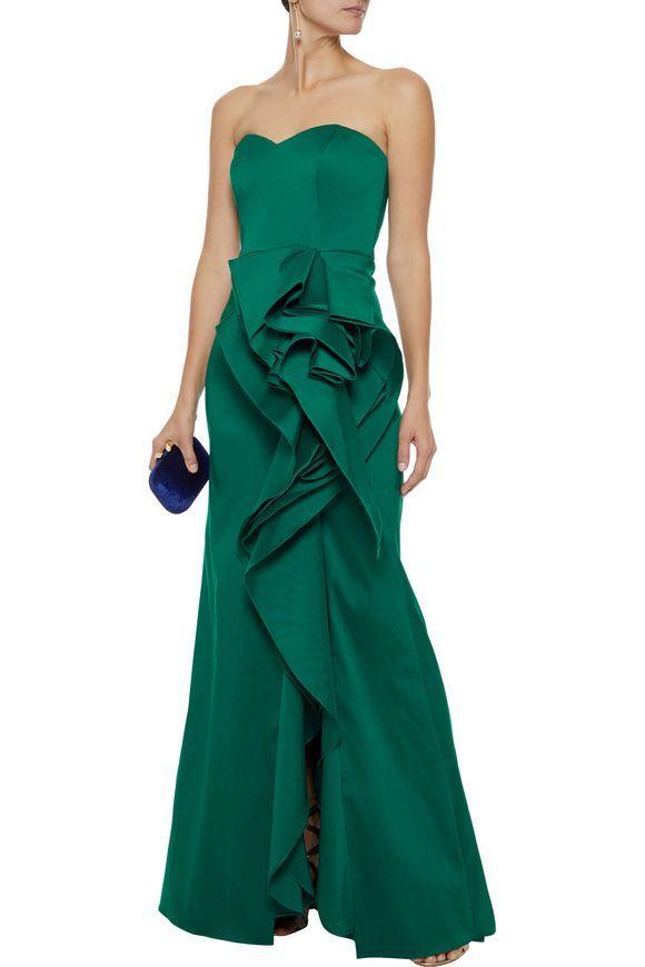 6470330ec971 BADGLEY MISCHKA Strapless ruffled duchesse satin-twill gown | Gowns ...