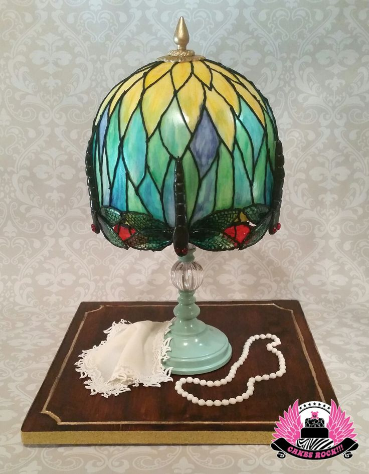 Dragonfly Tiffany Lamp - Tiffany Dragonfly Lamp, with isomalt hand-painted dragonflies. Painted fondant over a gluten free white chocolate mud cake.