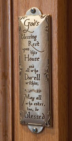 I love this!  California artist Cynthia Webb borrowed from the Judaic tradition of mezuzahs to create this handcrafted House Blessing.