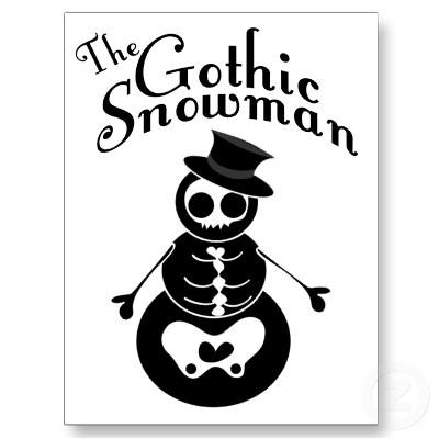 Gothic snowman postcard