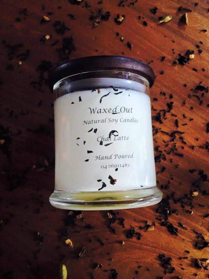 Chai Latte . Chai Latte . Exotic spice of chai tea deliciously warming and comfy . Creamy aroma with a base of cinnamon & cloves . With a hint of vanilla bean and black tea . If your a chai lover like me this is just a gorgeous scent to have lingering through out your home . A wonderful winter fragrance . $25 .00 each 250 gram candles with wooden lids . Flat rate postage Australia wide $9.00 All orders over $80.00 free postage .
