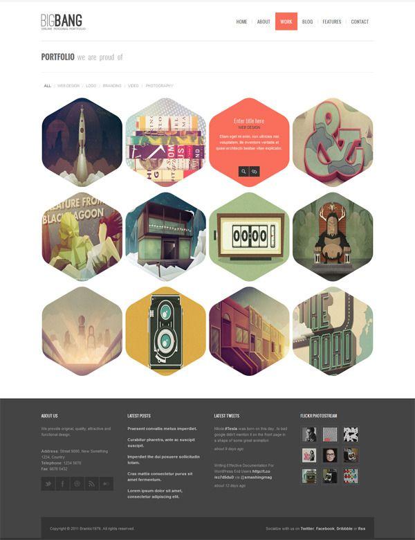 Bigbang - Responsive WordPress Template - Portfolio layout with items shaped as hexagon