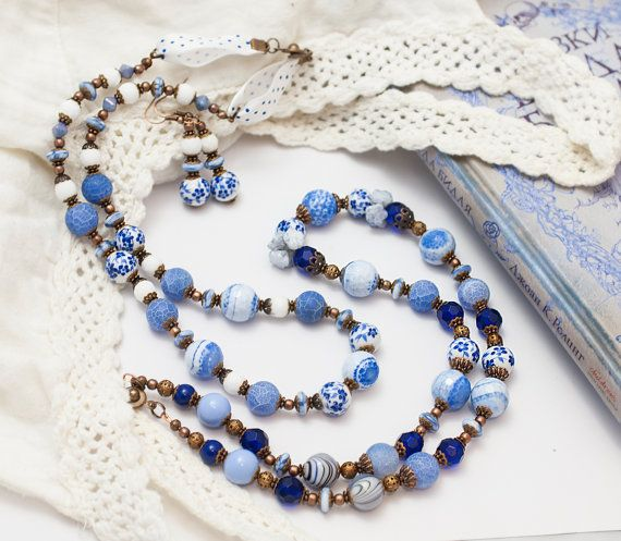 Necklaces and earrings Romantic dark blue white by ArvensJewelry