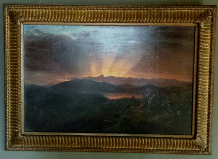 The After Glow (painting), Frederic Edwin Church. November 1867 Oil on Canvas. Memento mori for Charlotte Church--Frederic's younger sister. Composition based on studies of spectacular sunset in Jamaica in June 1865.
