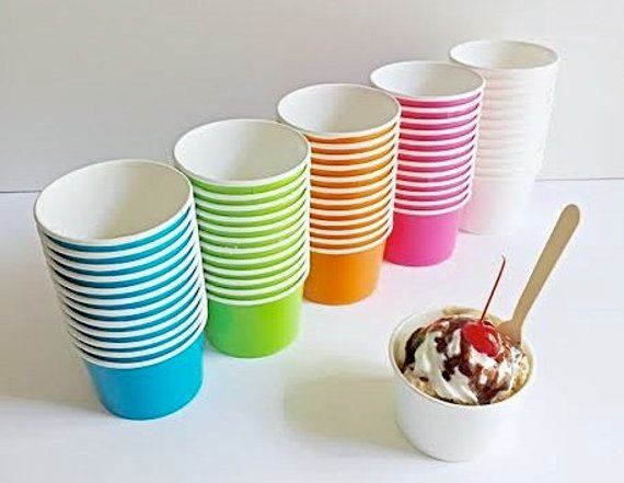 25 Ice Cream Cups Small Fruit Bowl 4 Oz Paper Ice Cream Party