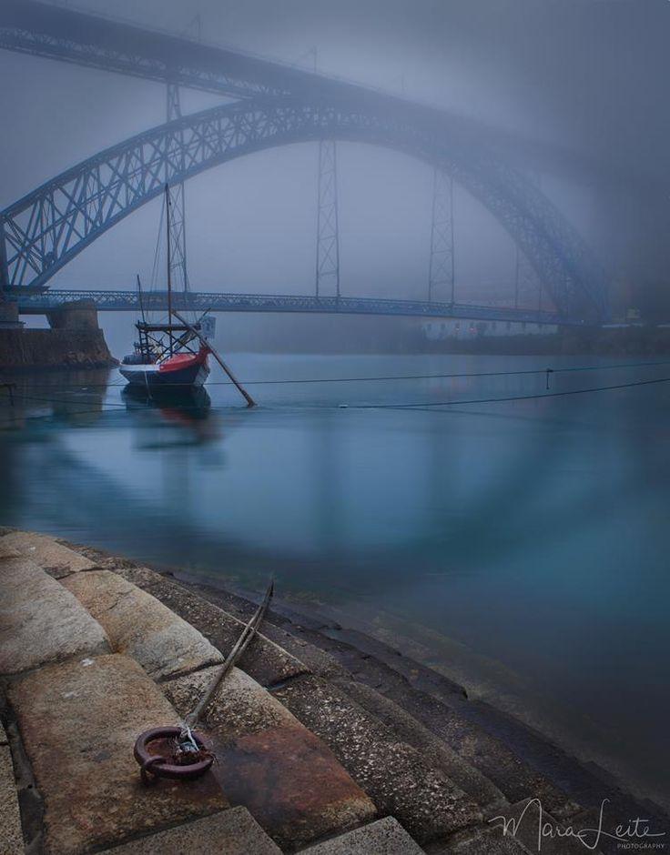 A ponte D. Luis I parcialmente coberta pela neblina matinal. Mara Leite Photography