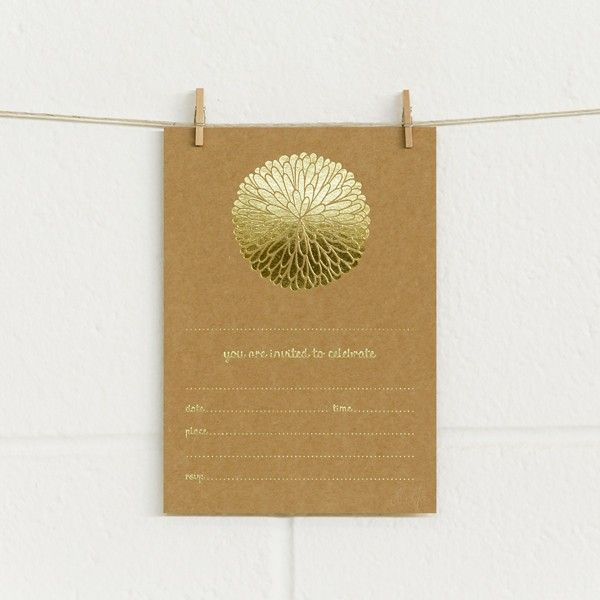 INVITEme, Dahlia, Gold Foil on Kraft (20 pack), Alex Mae, available at www.paperbliss.com.au