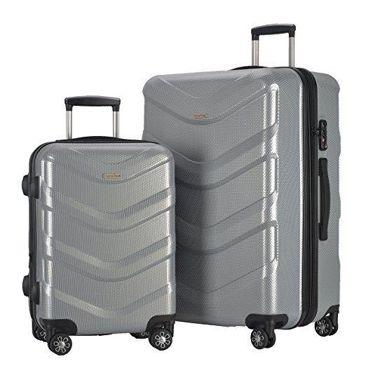 Amazon.com | 2 Piece Luggage Set Durable Lightweight Hard Case Spinner Suitecase LUG2 RA8713 BLACK | Luggage Sets