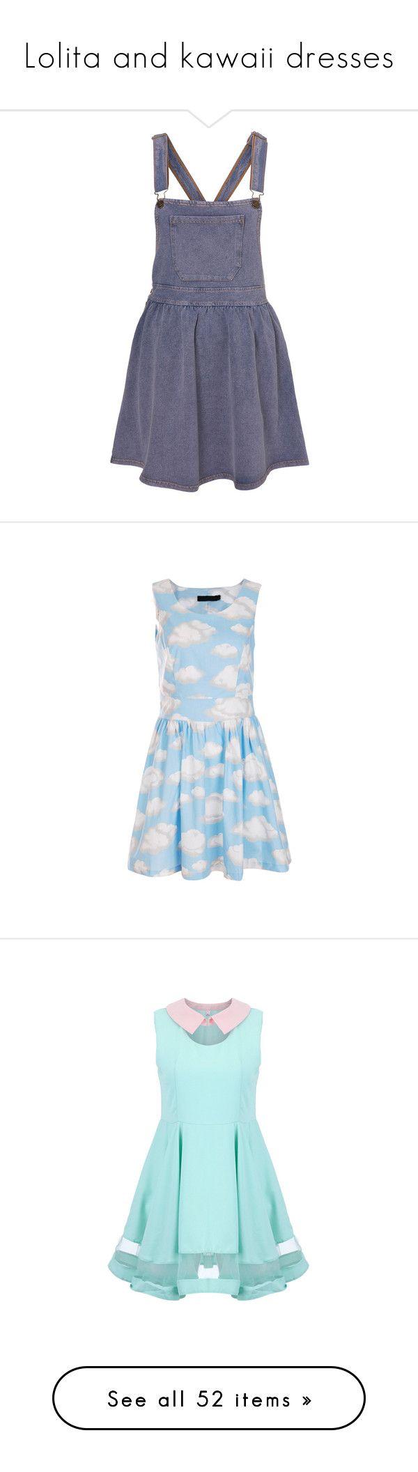 """Lolita and kawaii dresses"" by kawaii-senpai ❤ liked on Polyvore featuring dresses, skirts, overalls, denim, women, blue jersey, blue pinafore dress, long blue dress, long denim dress and denim pinafore dress"