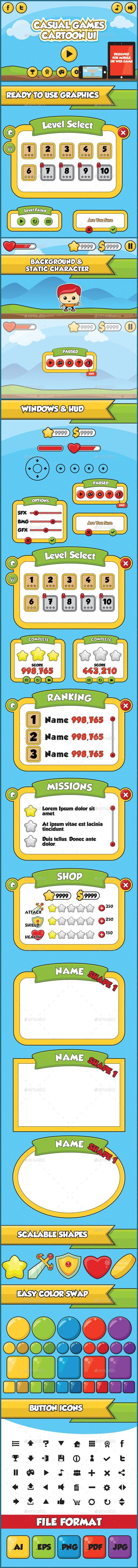 Cartoon Games UI Kit Template PSD, Transparent PNG, Vector EPS, AI Illustrator. Download here: https://graphicriver.net/item/cartoon-games-ui-kit/9379283?ref=ksioks