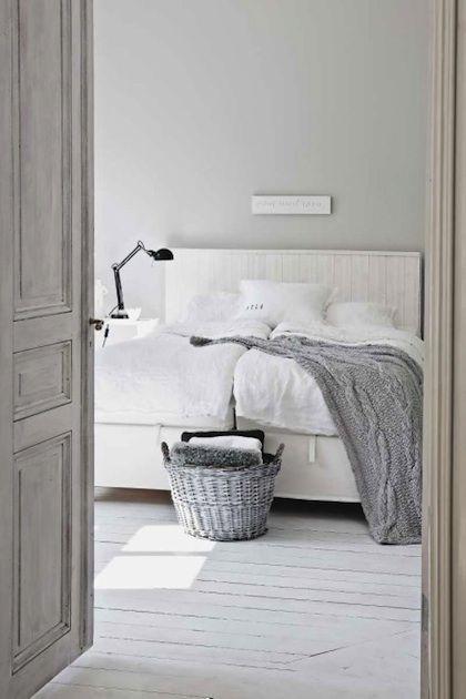 white + gray: mooi rustig. www.old-basics.nl verkoopt oude bedden en ook brocante bedhoofden