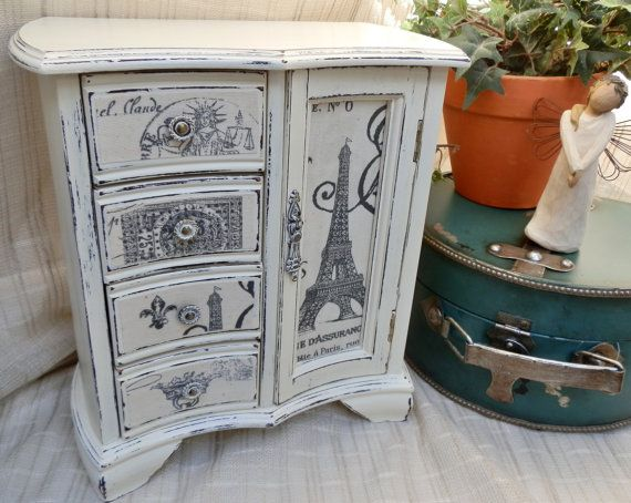 Upcycled Paris Jewelry Box Painted in Annie Sloan Chalk Paint Old White Distressed and Decoupaged in Paris Eiffel Tower Print Fabric